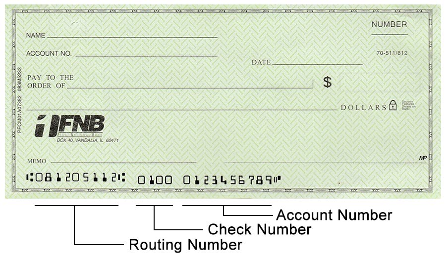 sample of a check showing the location of the routing, account, and check numbers