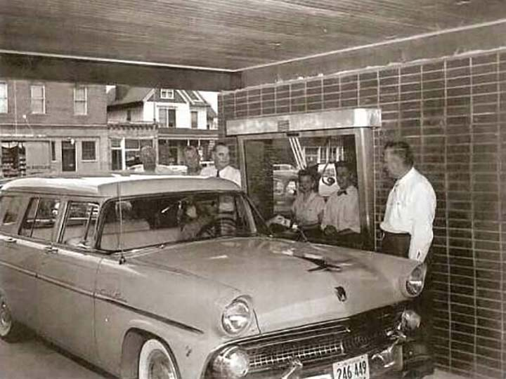 car pulled up to the drive-up banking in 1950s